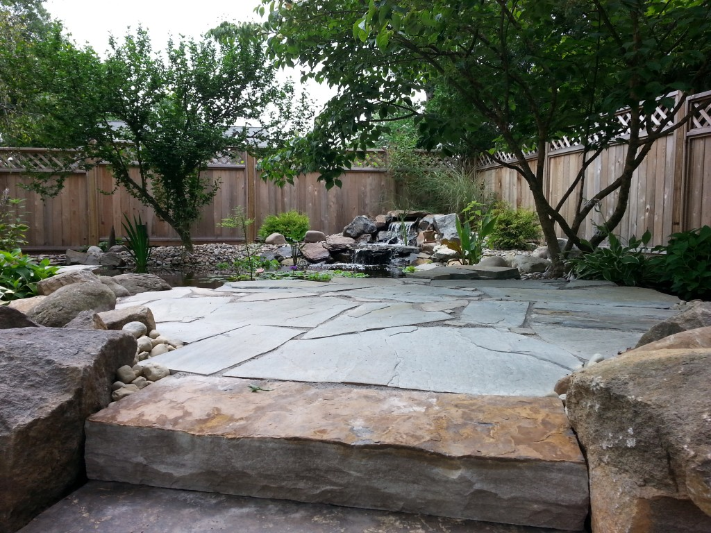Stone Patio with Waterfall